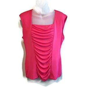 Alfani Sleeveless Silk Blend Pink Draped Panel Top